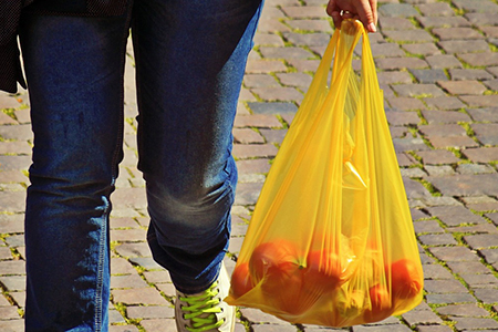 Person holding a plastic Bag